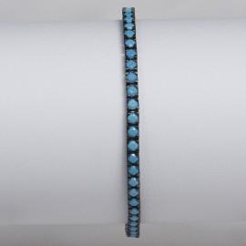 bracciale tennis in argento 925 nero con pietre nano cristal turchese