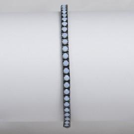 bracciale tennis in argento 925 nero con pietre nano cristal bianco milk