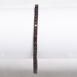 Bracciale tennis nero in argento 925 alternato con pietre nano cristal rosso granato