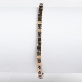 Bracciale tennis in argento 925 rosa alternato con pietre nano cristal nero