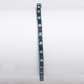 bracciale tennis in argento 925 nero con pietre nano cristal nero e turchese