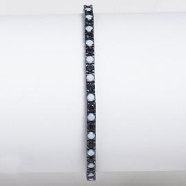 bracciale tennis in argento 925 nero con pietre nano cristal bianco e blu scuro