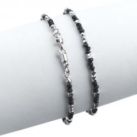 Bracciale in argento 925 con cristalli sfacettati neri e argento