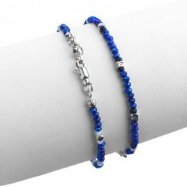 Bracciale in argento 925 con cristalli sfacettati blu elettrico e neri