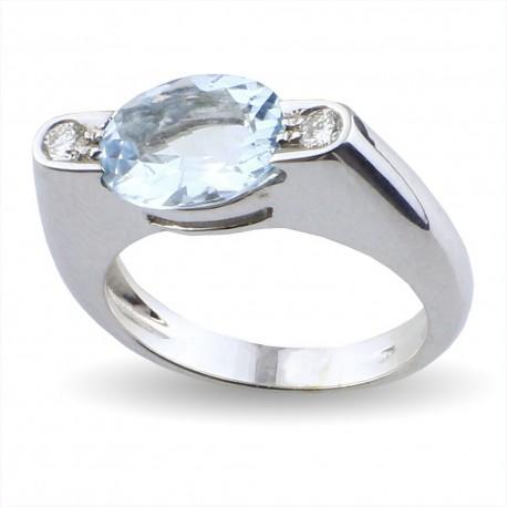 Anello in oro con acquamarina carati 1,39 e diamanti carati 0.08 purezza VS colore H
