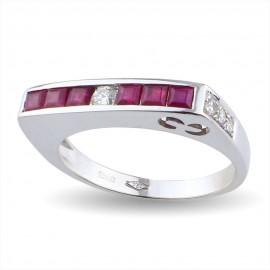 Fedina in oro bianco con con rubini e diamanti