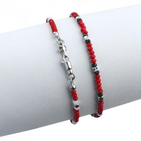 Bracciale in argento 925 con cristalli sfacettati rossi e neri