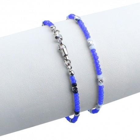 Bracciale in argento 925 con cristalli sfacettati azzurri e bianchi
