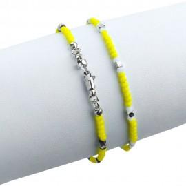 Bracciale in argento 925 con cristalli sfacettati gialli e bianchi