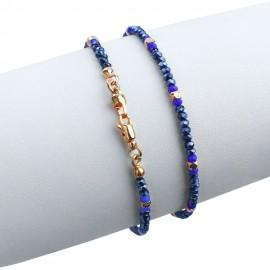 Bracciale in argento 925 rosa con cristalli sfacettati blu scuro e azzurri