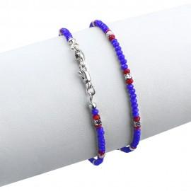 Bracciale in argento 925 con cristalli sfacettati blu e rossi