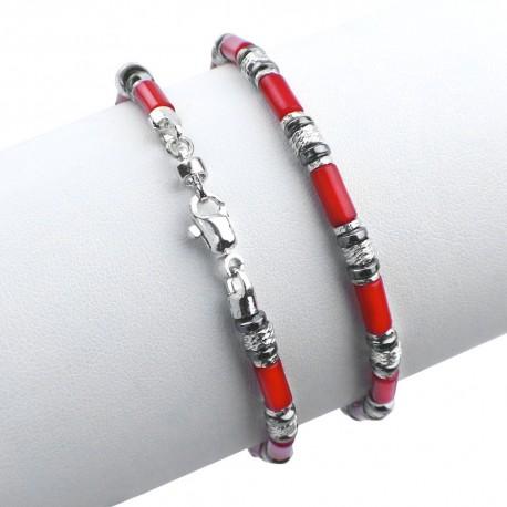 Bracciale in argento 925 con corallo bamboo ed ematite