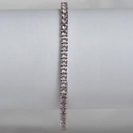 Bracciale tennis in argento 925 rodiato con pietre nano cristal rosa