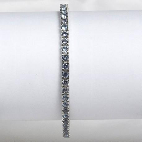 Bracciale tennis in argento 925 rodiato con pietre nano cristal celesti