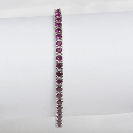 Bracciale tennis in argento 925 rodiato con pietre nano cristal rosso rubino