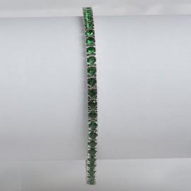 Bracciale tennis in argento 925 rodiato con pietre nano cristal verdi