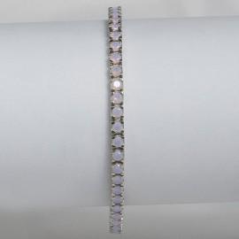Bracciale tennis in argento 925 rodiato con pietre nano cristal opale