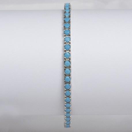 Bracciale tennis in argento 925 rodiato con pietre nano cristal turchese