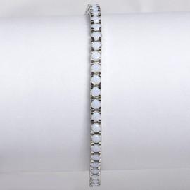 Bracciale tennis in argento 925 rodiato con pietre nano cristal bianco milk