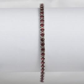 Bracciale tennis in argento 925 rodiato con pietre nano cristal rosso granato