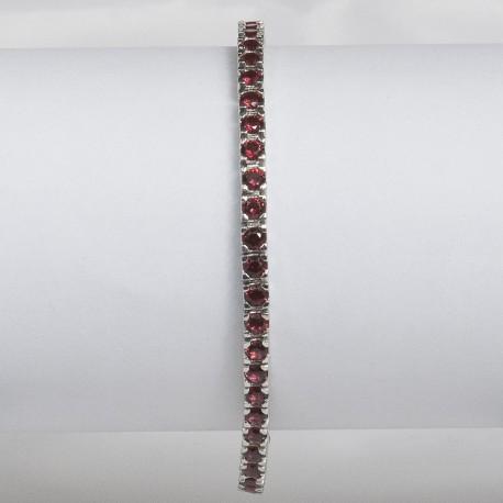 Bracciale tennis in argento 925 rodiato con pietre nano criatal rosso rubino