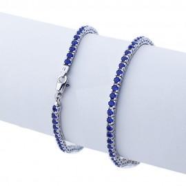 Bracciale tennis in argento 925 rodiato con pietre nano cristal blu