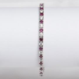 Bracciale tennis in argento 925 rodiato alternato con pietre nano cristal rosso rubino e cubic zirconia