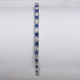 Bracciale tennis in argento 925 rodiato alternato con pietre nano cristal blu zaffiro e cubic zirconia