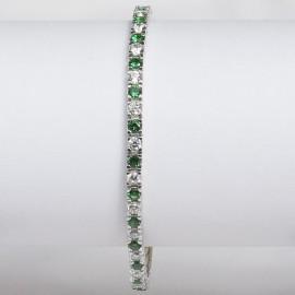 Bracciale tennis in argento 925 rodiato alternato con pietre nano cristal verde e cubic zirconia