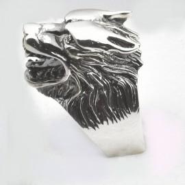 Anello lupo in argento 925 con rubini naturali