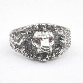 Anello leone in argento 925 con rubini naturali