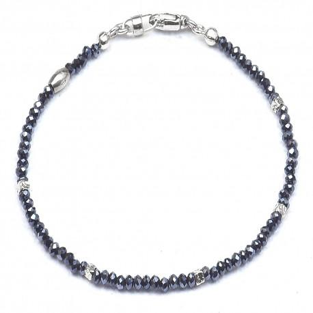 Bracciale in argento 925 e cristalli blù alternati a cubetti rodiati
