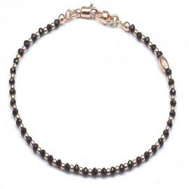 Bracciale in argento 925 e cristalli neri alternati a sfere in doratura rosa