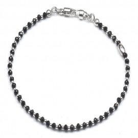Bracciale in argento 925 e cristalli neri alternati a sfere rodiate