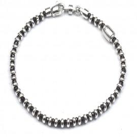 Bracciale in argento 925 e cristalli neri alternati a separatori a ciambella