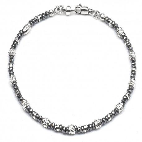 Bracciale in argento 925 ed ematite naturale