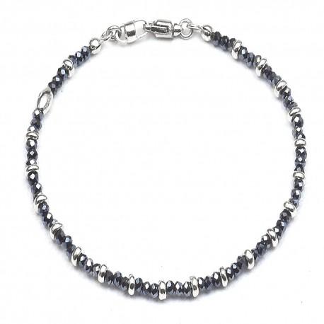 Bracciale in argento 925 e cristalli blù alternati