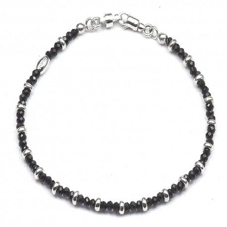 Bracciale in argento 925 cristalli neri e separatori a ciambella
