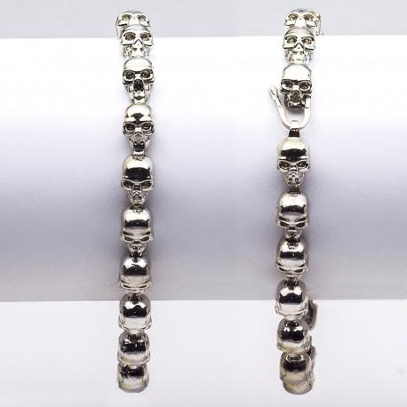 Bracciale in argento 925 con elementi teschio
