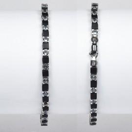 Bracciale tennis in argento 925 e cristalli grigio-azzurro