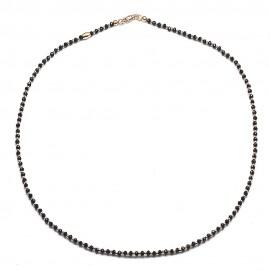 Collana in argento 925 con cristalli neri e sfere dorate rosa