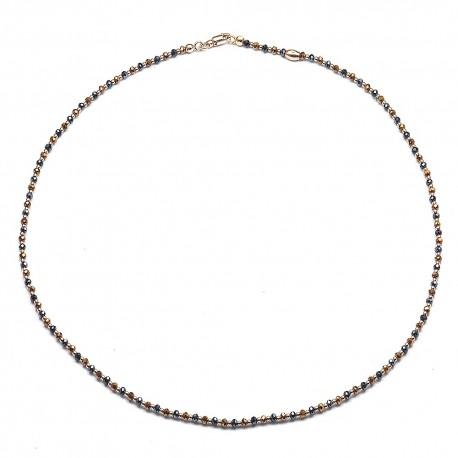 Collana in argento 925 e cristalli blu, rame e sfere dorate rosa