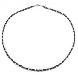 Collana in argento 925 con cristalli neri e separatori rodiati