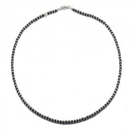 Collana in argento 925 con palline onice e separatori rodiati