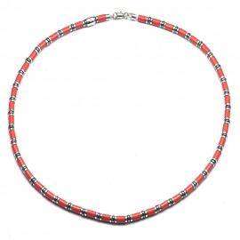 Collana in argento 925 con sintetico ceramico rosso ed ematite